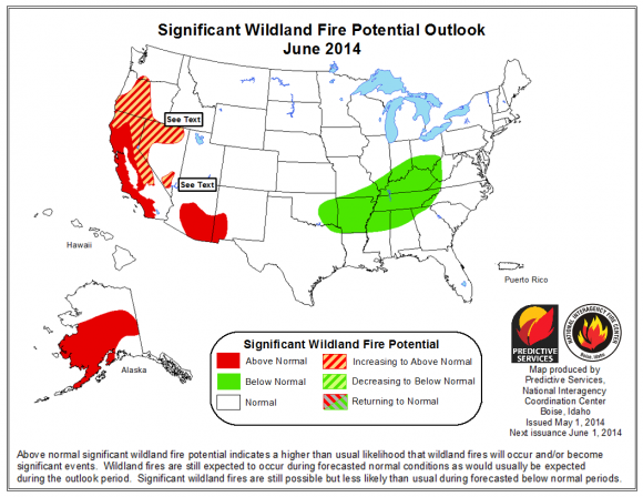 The National Significant Wildand Fire Potential Outlook for June issued by the NationalInteragency Center shows