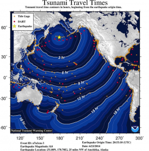 A National Tsunami Warning Center graphic shows the wave travel times from an M8.0 earthquake that struck Alaska's Rat Islands on June 23.