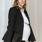 Walking Pregnant Business Woman