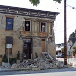 "The historic Pfeiffer Building in downtown Napa suffered major damage from Napa's 6.1 earthquake. The building was the ""first stone and oldest surviving commercial building in Napa.""  Photo by Amy O'Connor, Insurance Journal"