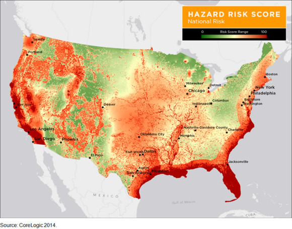 States Ranked By Risk Of Damage From Natural Hazards CoreLogic - Hurricane danger map of the us